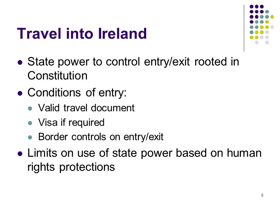 Travel into Ireland State power to control entry/exit rooted in Constitution. Conditions of entry: