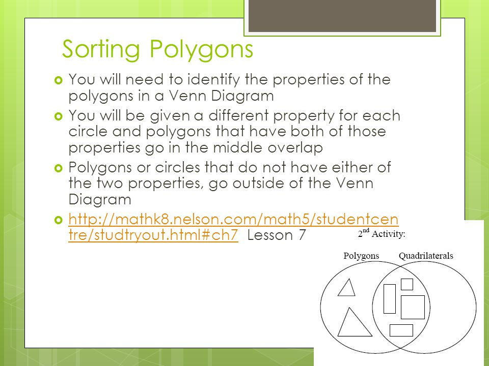Sorting Polygons You will need to identify the properties of the polygons in a Venn Diagram.