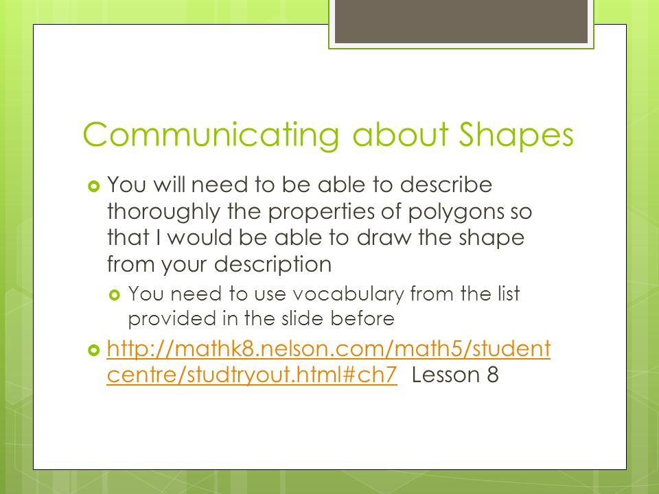 Communicating about Shapes