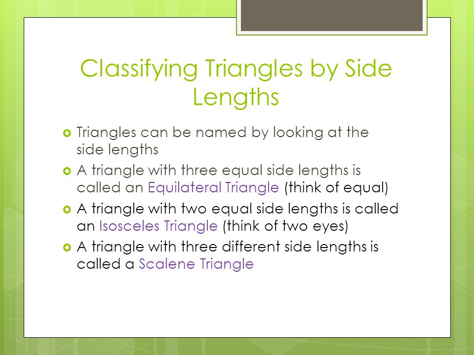 Classifying Triangles by Side Lengths
