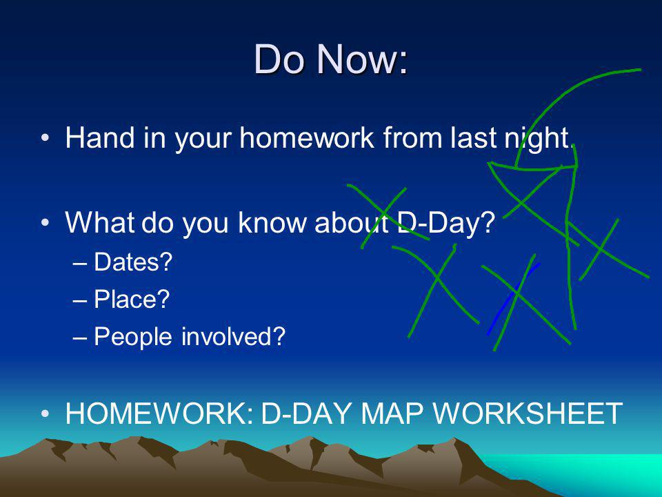 Do Now: Hand in your homework from last night.