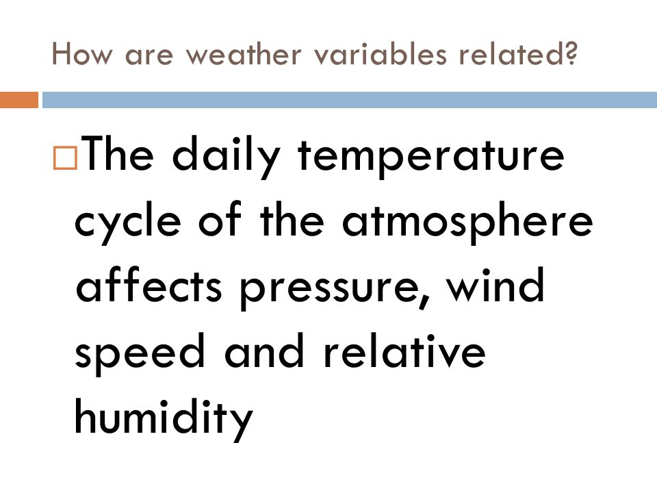 How are weather variables related