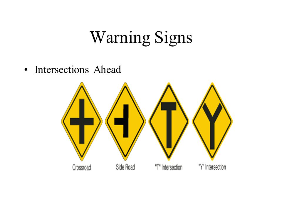 Warning Signs Intersections Ahead