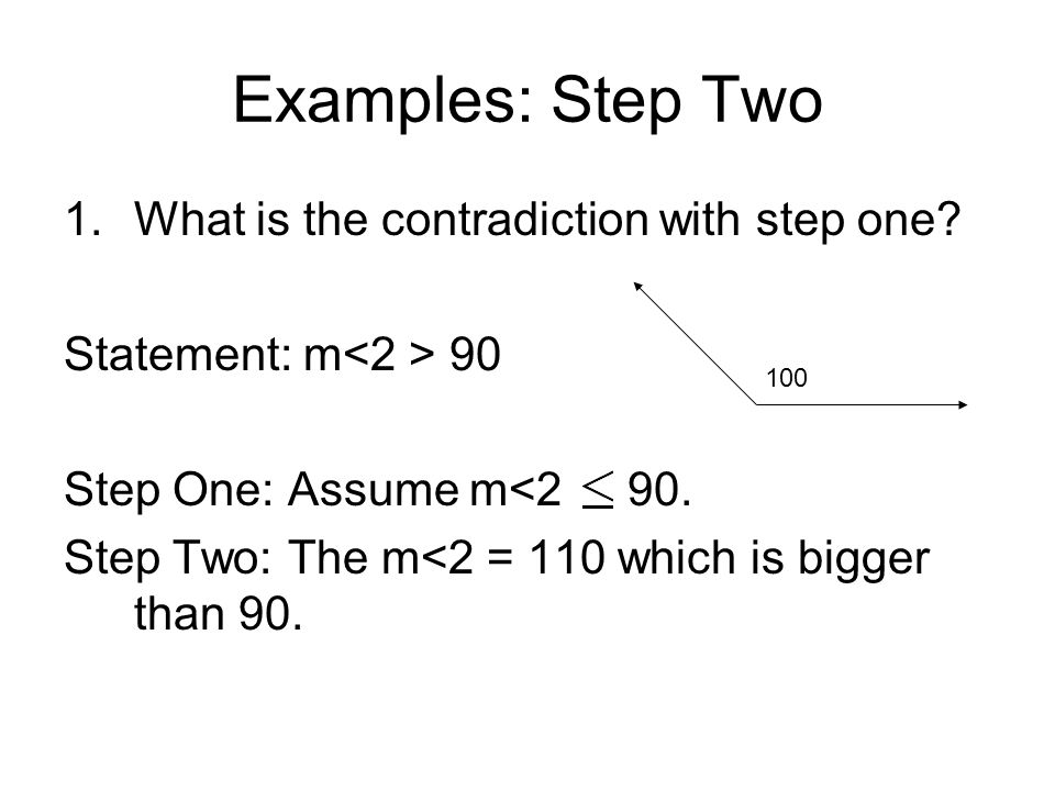Examples: Step Two What is the contradiction with step one