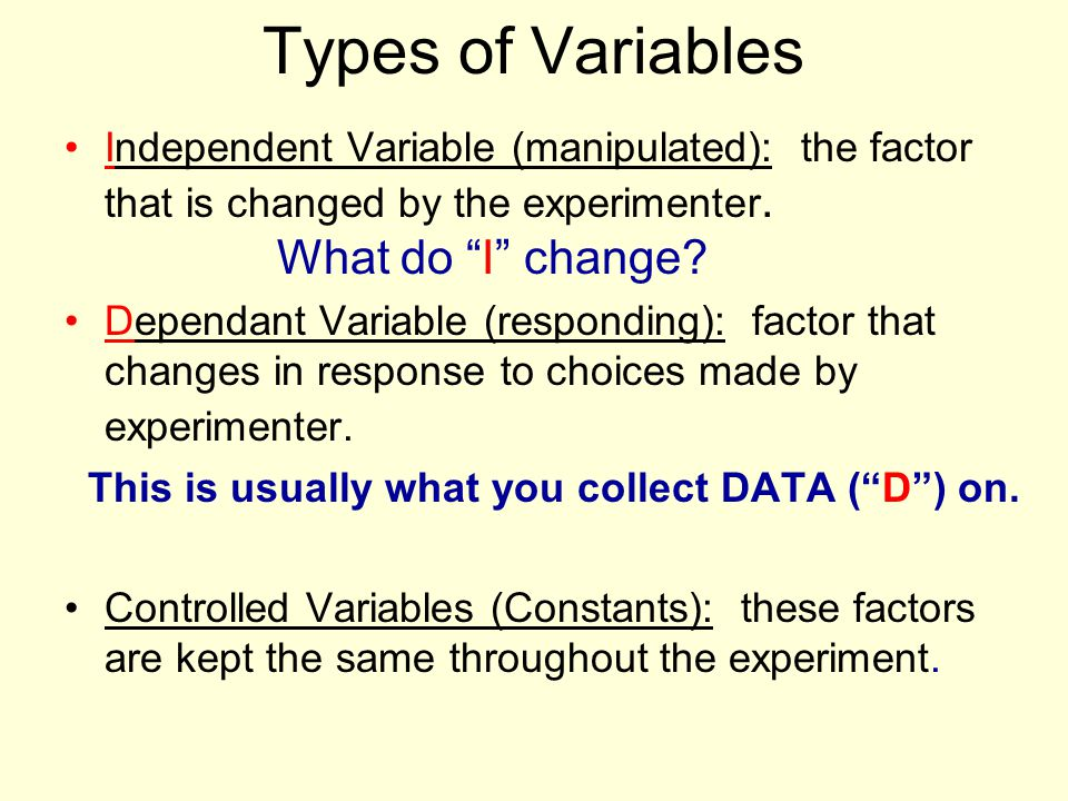 Types of Variables Independent Variable (manipulated): the factor that is changed by the experimenter. What do I change