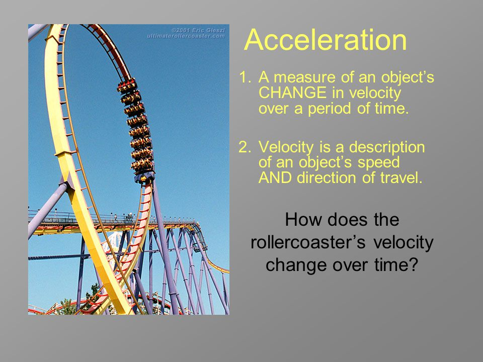 How does the rollercoaster's velocity change over time
