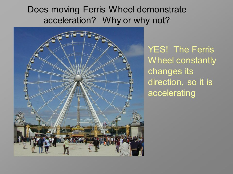 Does moving Ferris Wheel demonstrate acceleration Why or why not
