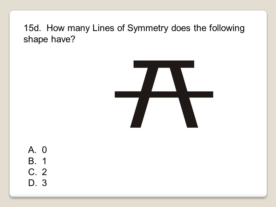 15d. How many Lines of Symmetry does the following shape have