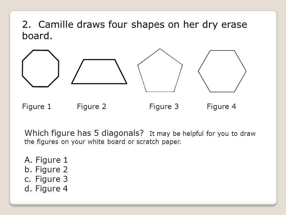 2. Camille draws four shapes on her dry erase board.
