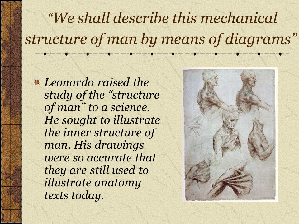 We shall describe this mechanical structure of man by means of diagrams