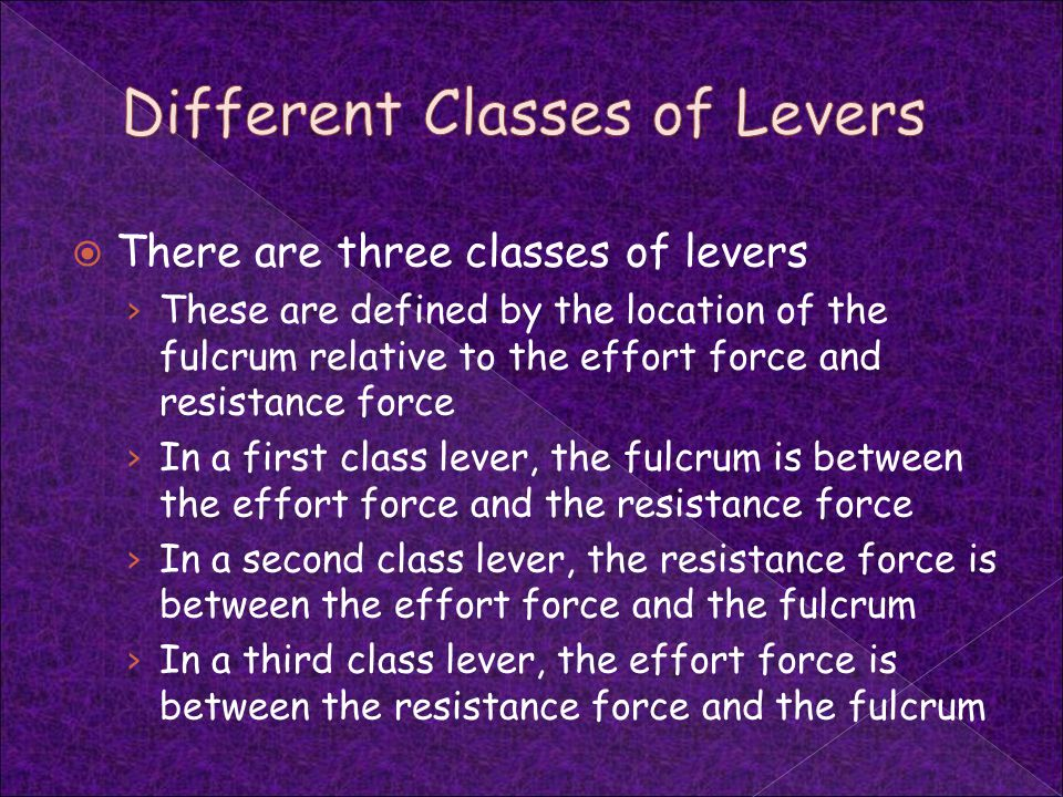 Different Classes of Levers
