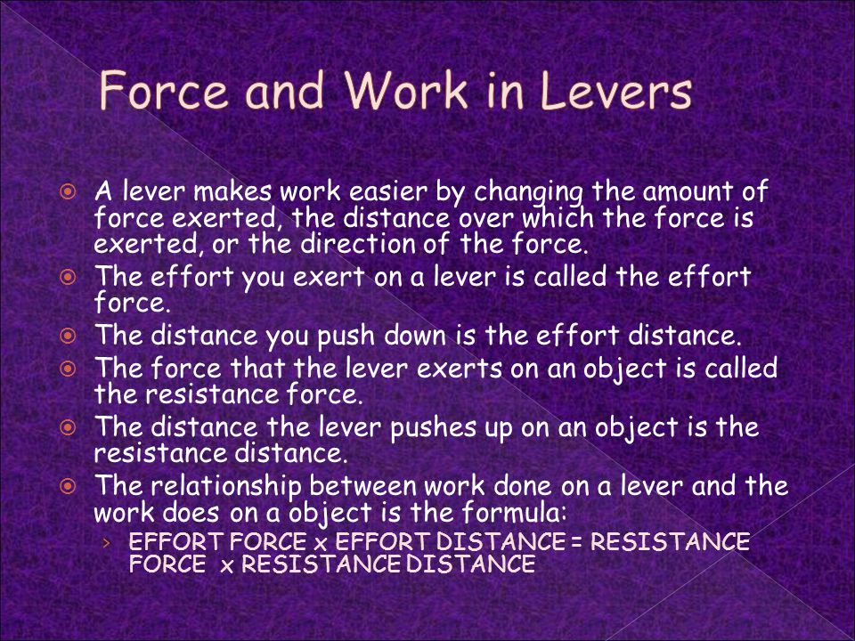 Force and Work in Levers