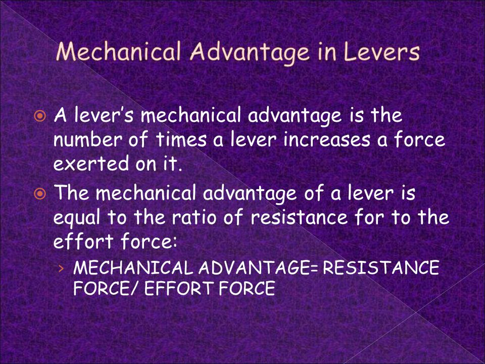 Mechanical Advantage in Levers