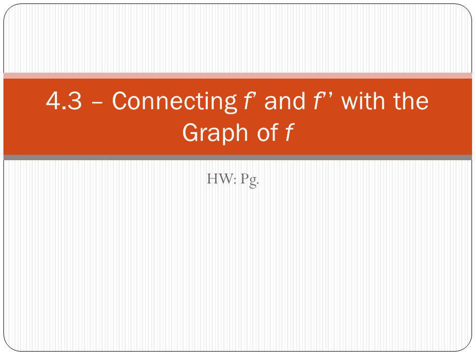 4.3 – Connecting f' and f'' with the Graph of f