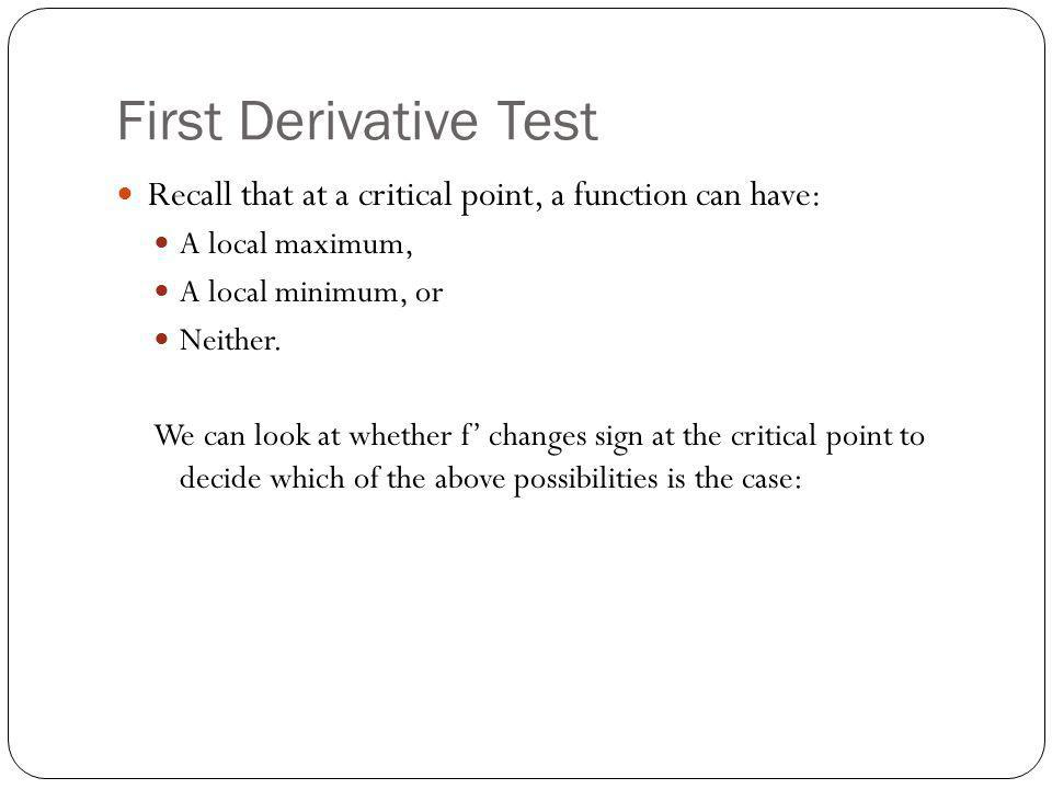 First Derivative Test Recall that at a critical point, a function can have: A local maximum, A local minimum, or.