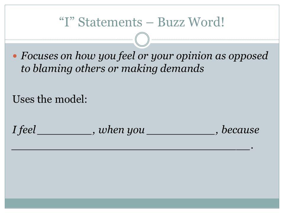 I Statements – Buzz Word!