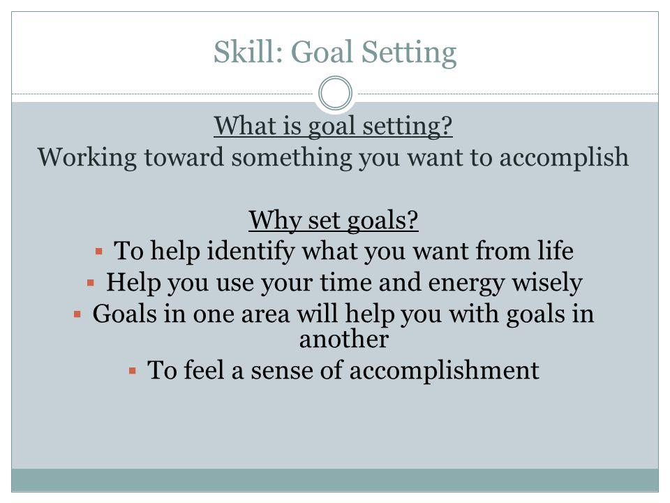 Skill: Goal Setting What is goal setting