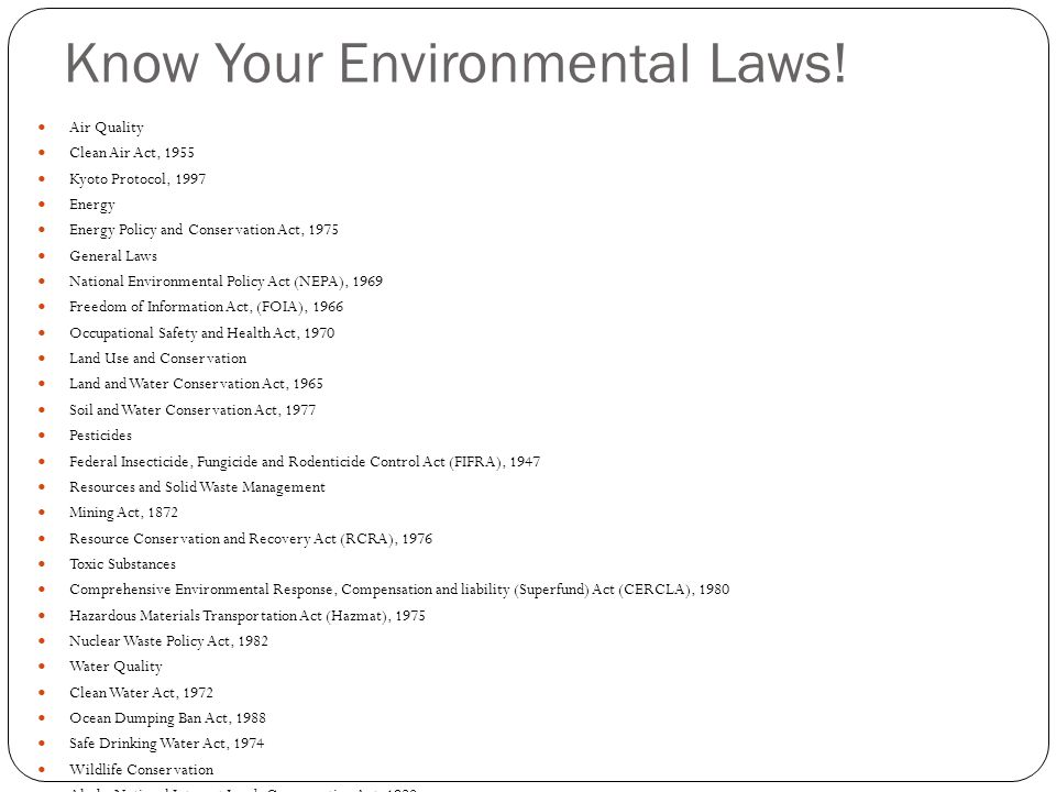 Know Your Environmental Laws!