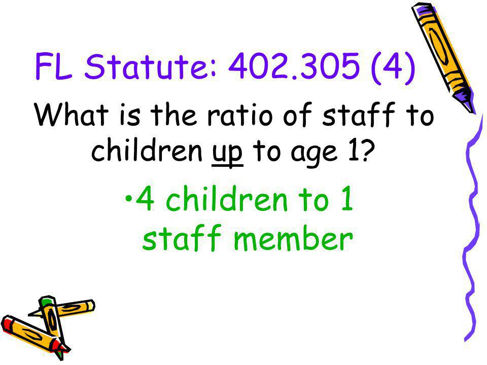 What is the ratio of staff to children up to age 1