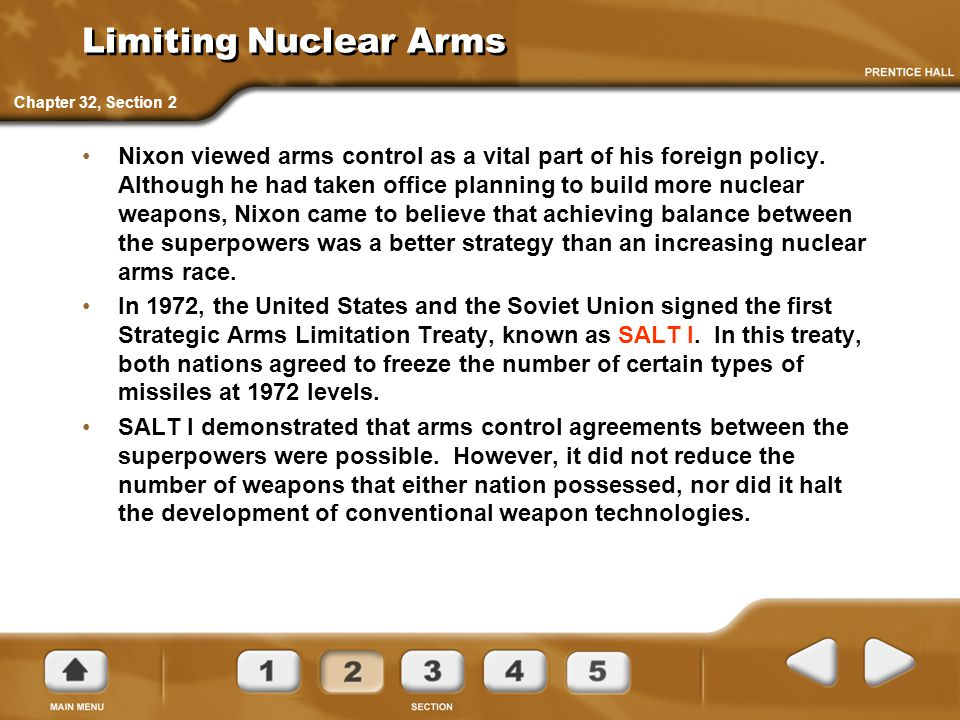 Limiting Nuclear Arms Chapter 32, Section 2.