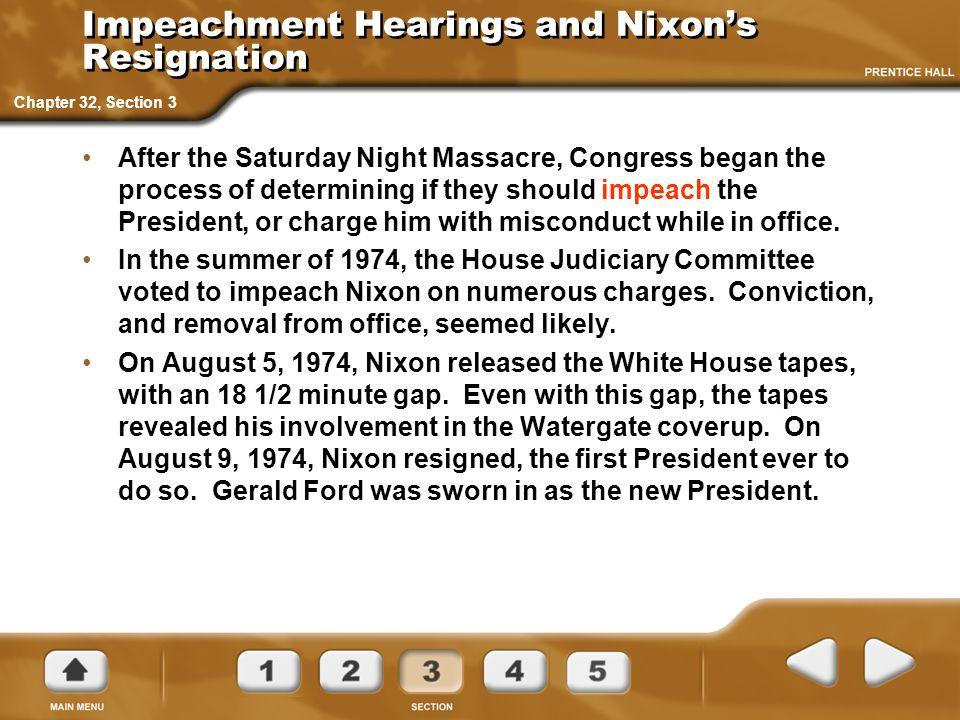 Impeachment Hearings and Nixon's Resignation