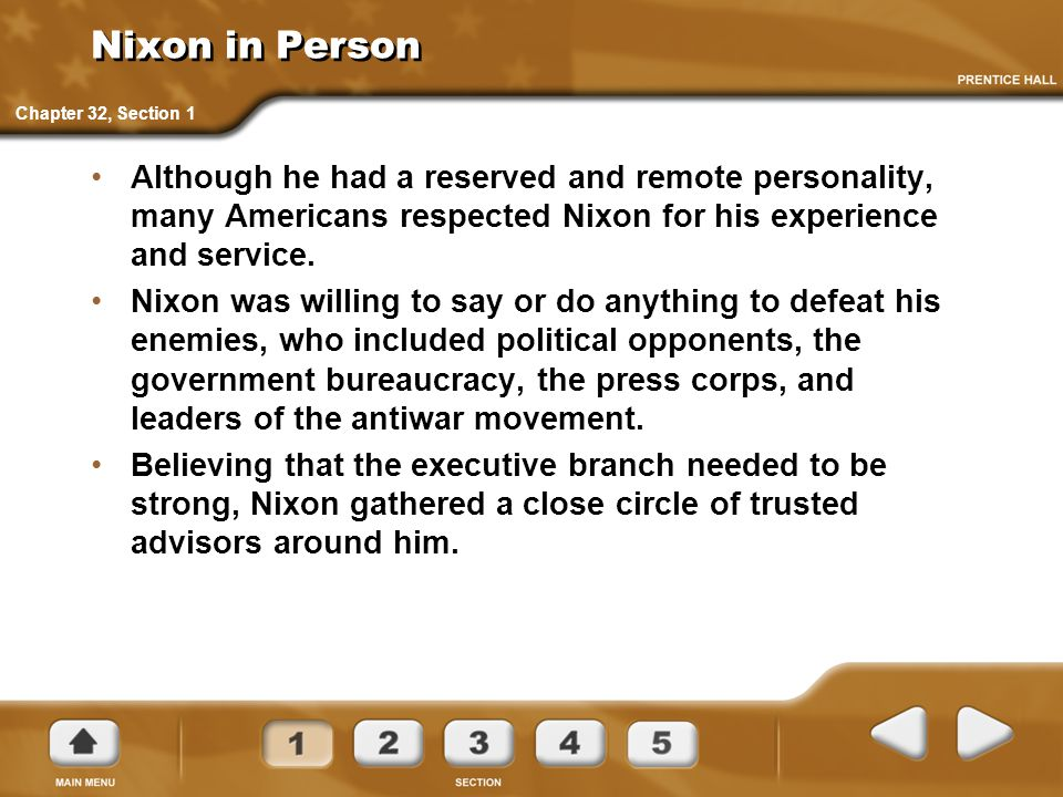 Nixon in Person Chapter 32, Section 1.