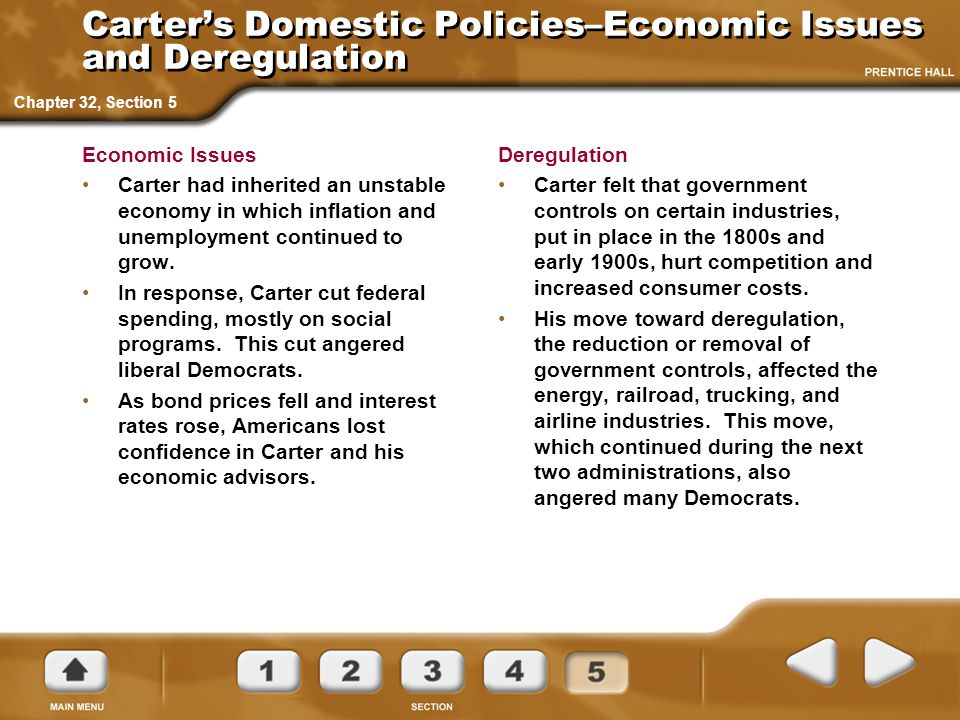 Carter's Domestic Policies–Economic Issues and Deregulation