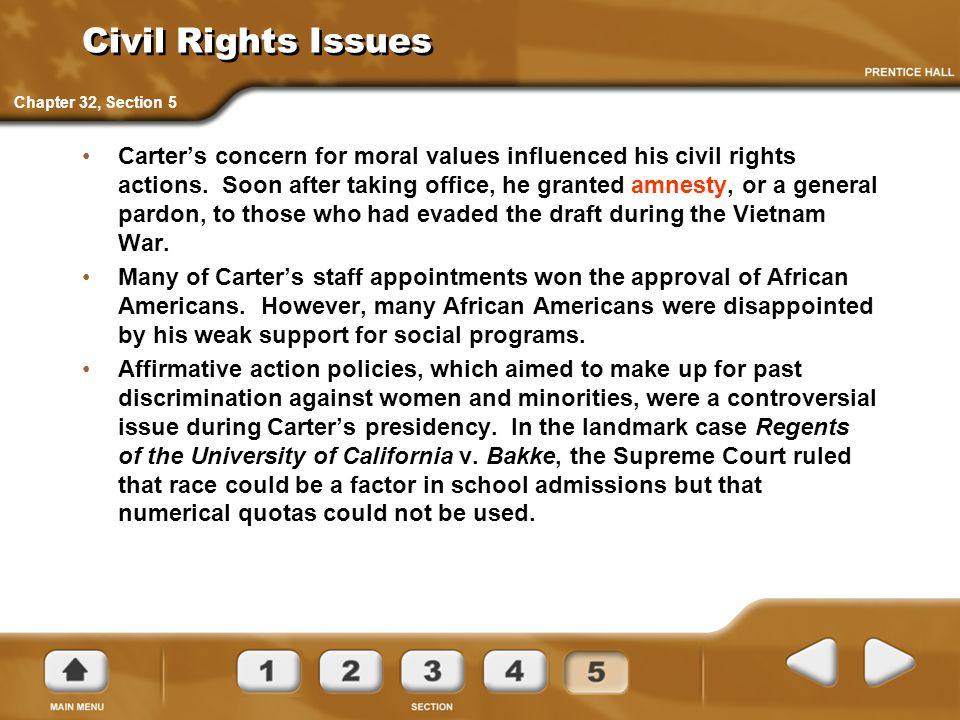 Civil Rights Issues Chapter 32, Section 5.
