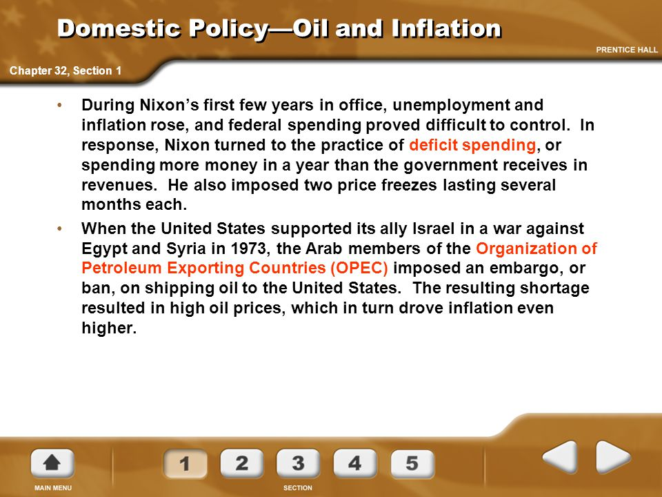 Domestic Policy—Oil and Inflation