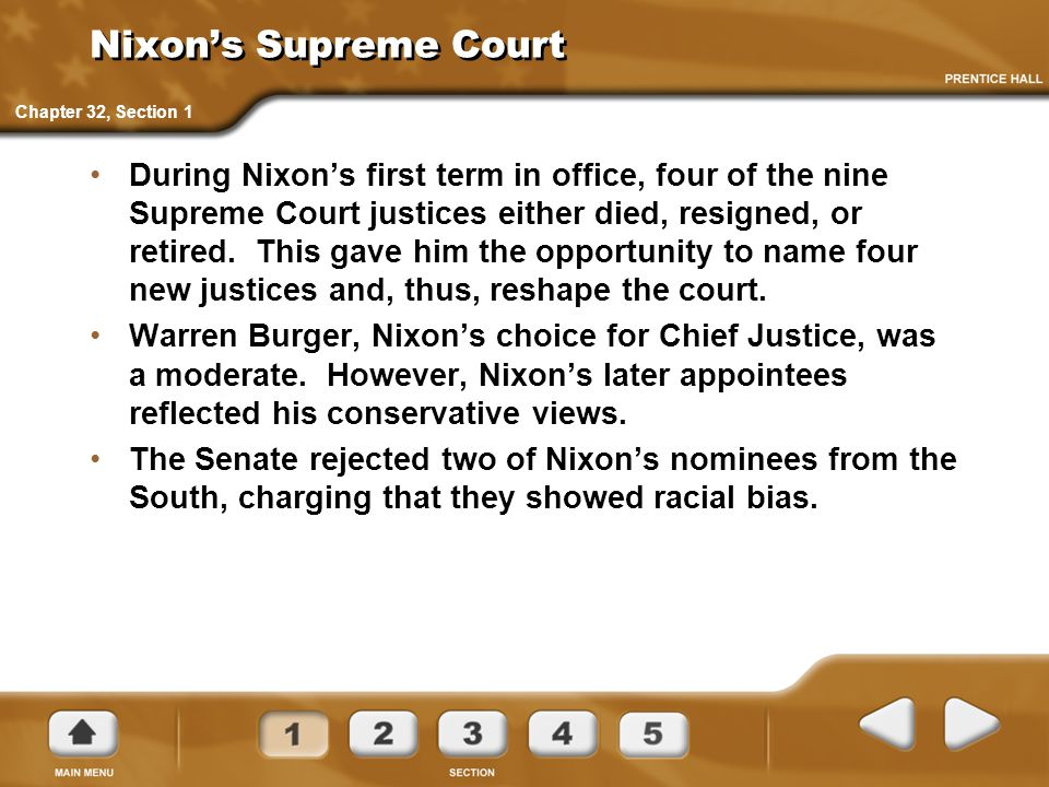 Nixon's Supreme Court Chapter 32, Section 1.