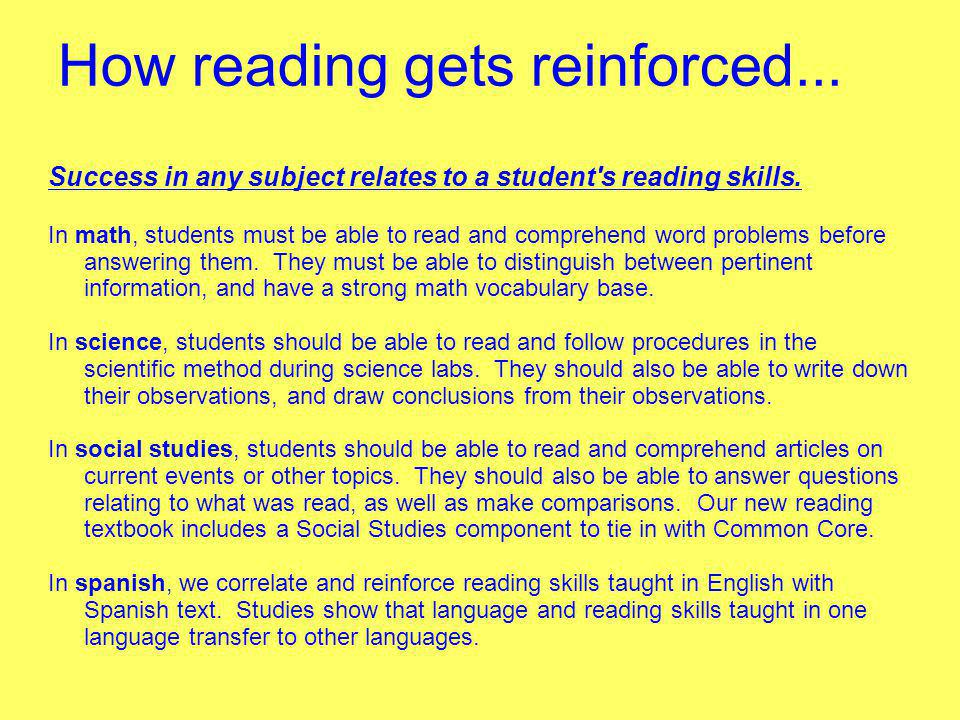 How reading gets reinforced...