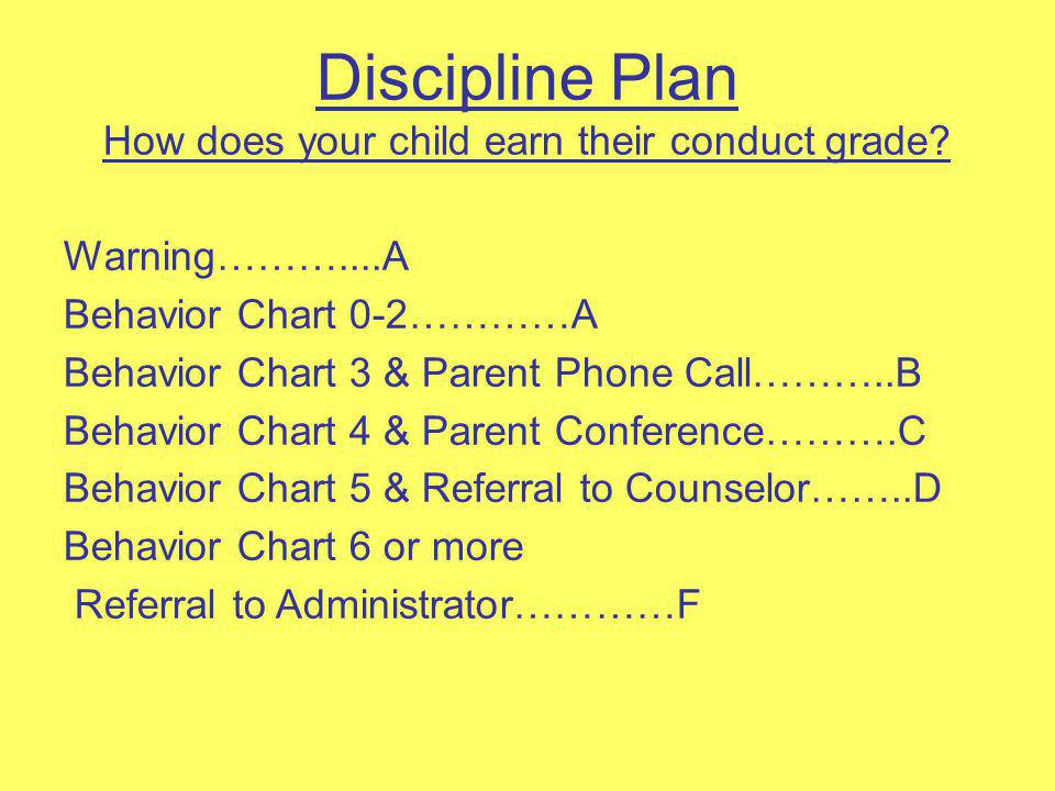 Discipline Plan How does your child earn their conduct grade