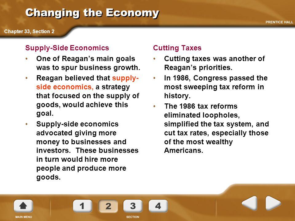Changing the Economy Supply-Side Economics