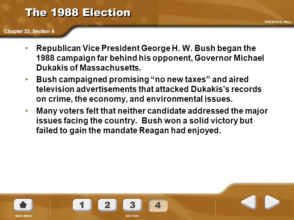 The 1988 Election Chapter 33, Section 4.