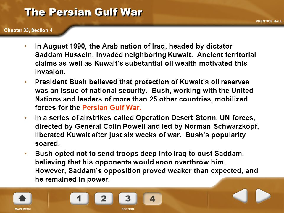 The Persian Gulf War Chapter 33, Section 4.