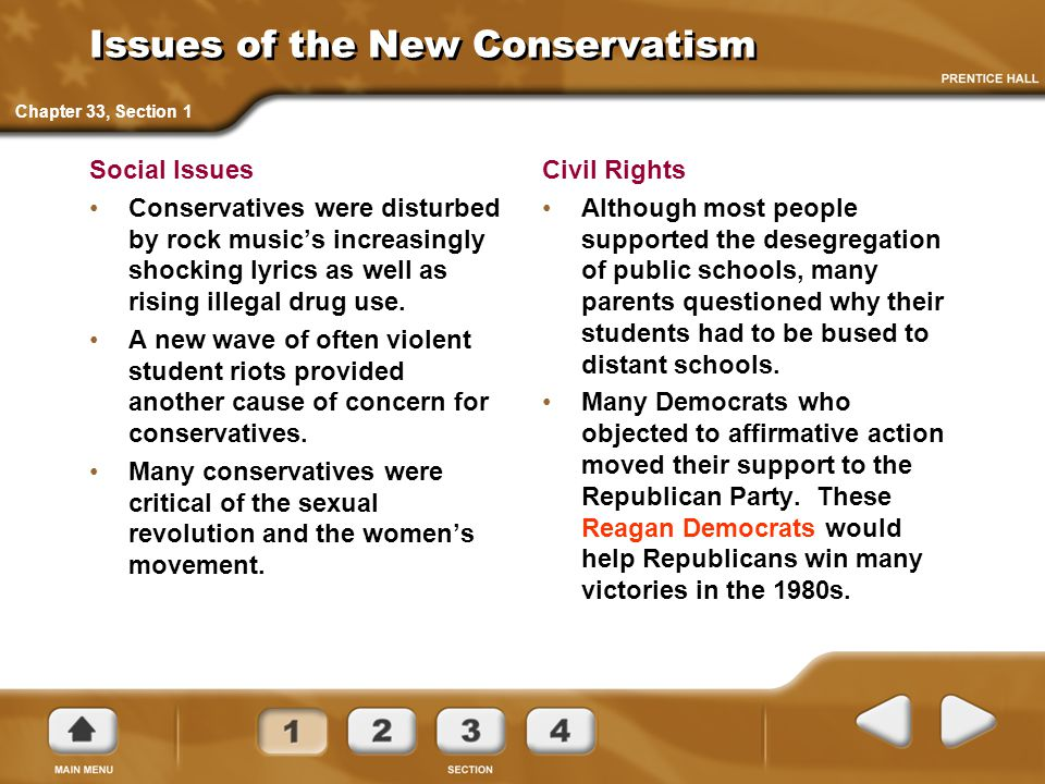 Issues of the New Conservatism