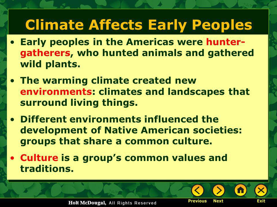 Climate Affects Early Peoples