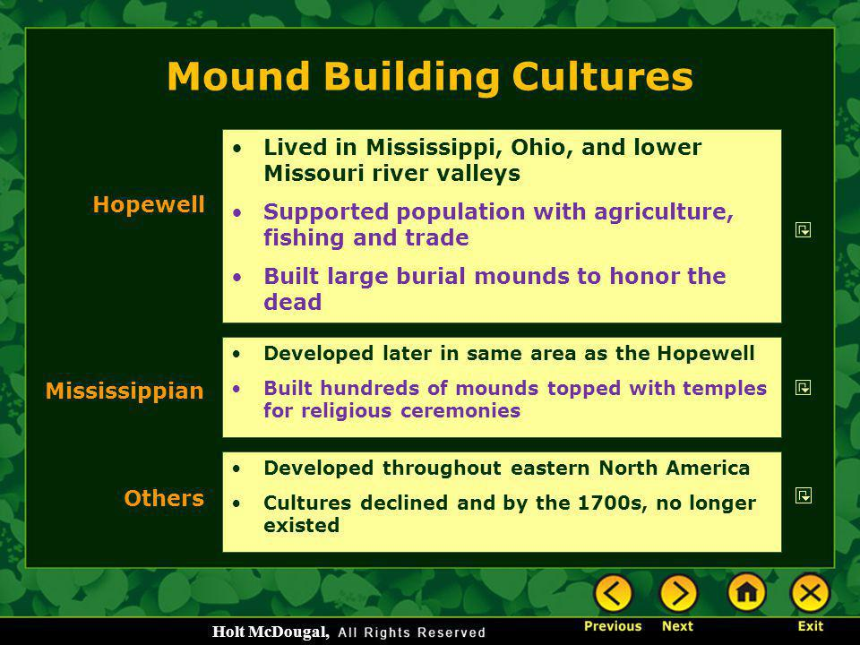 Mound Building Cultures