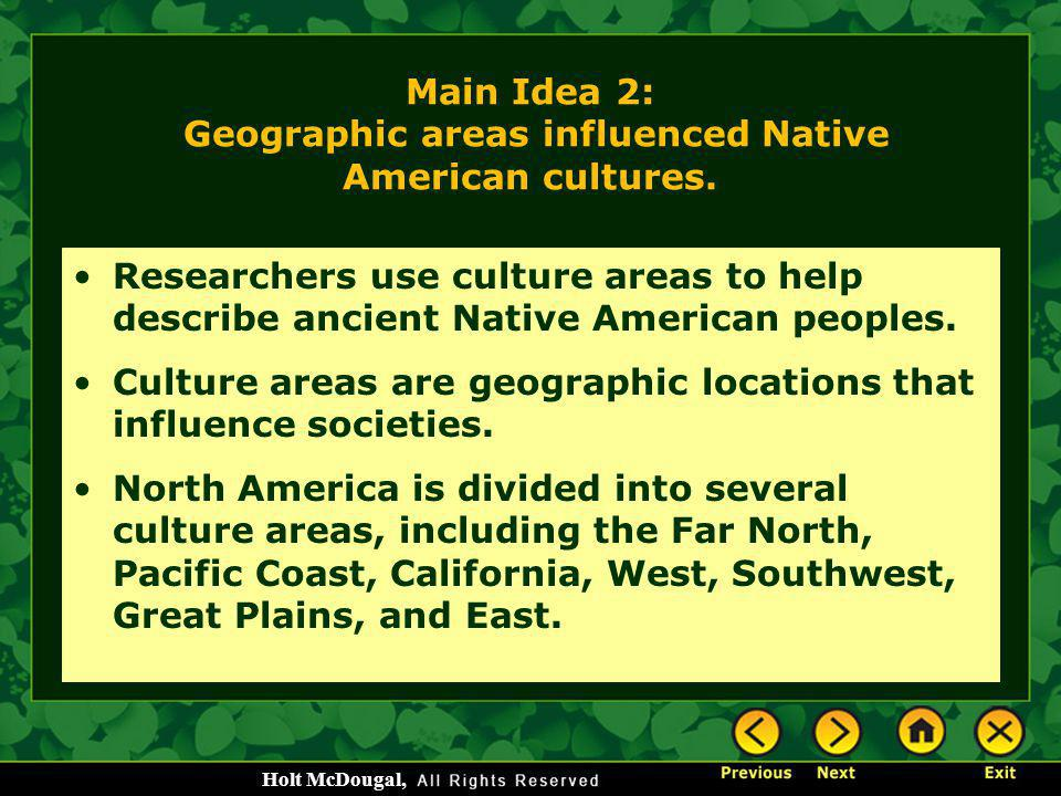 Main Idea 2: Geographic areas influenced Native American cultures.