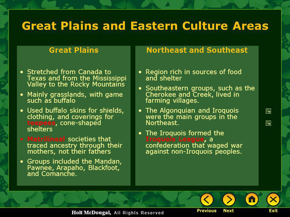 Great Plains and Eastern Culture Areas