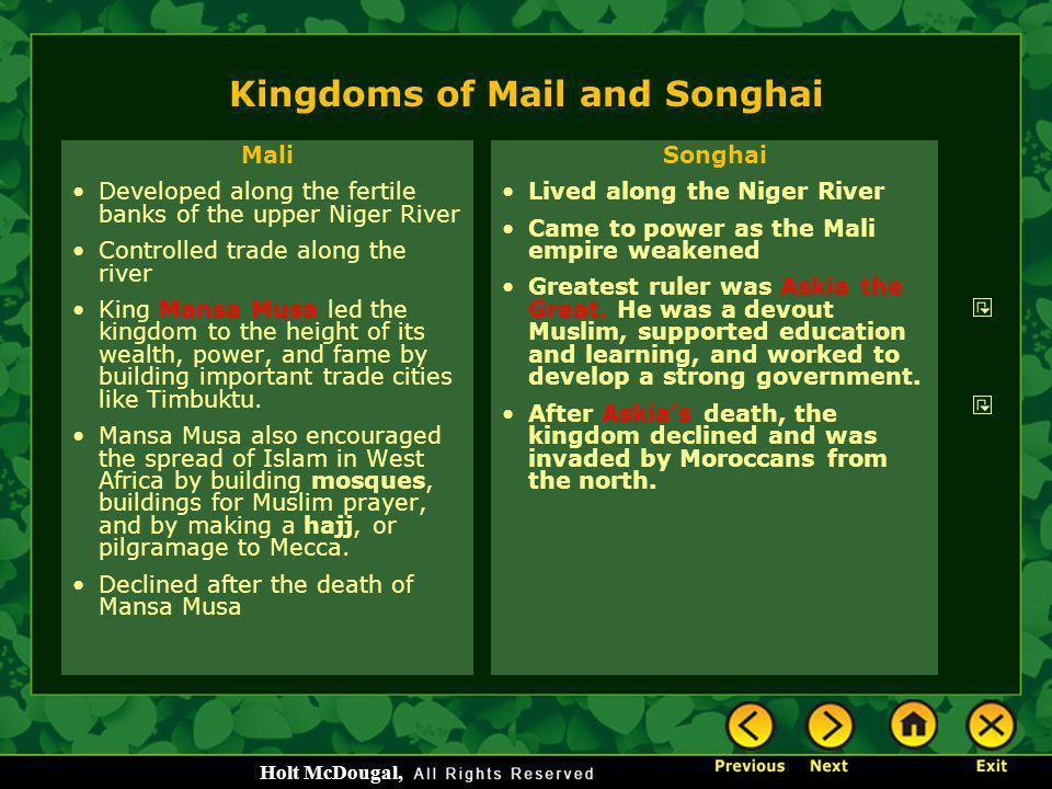 Kingdoms of Mail and Songhai