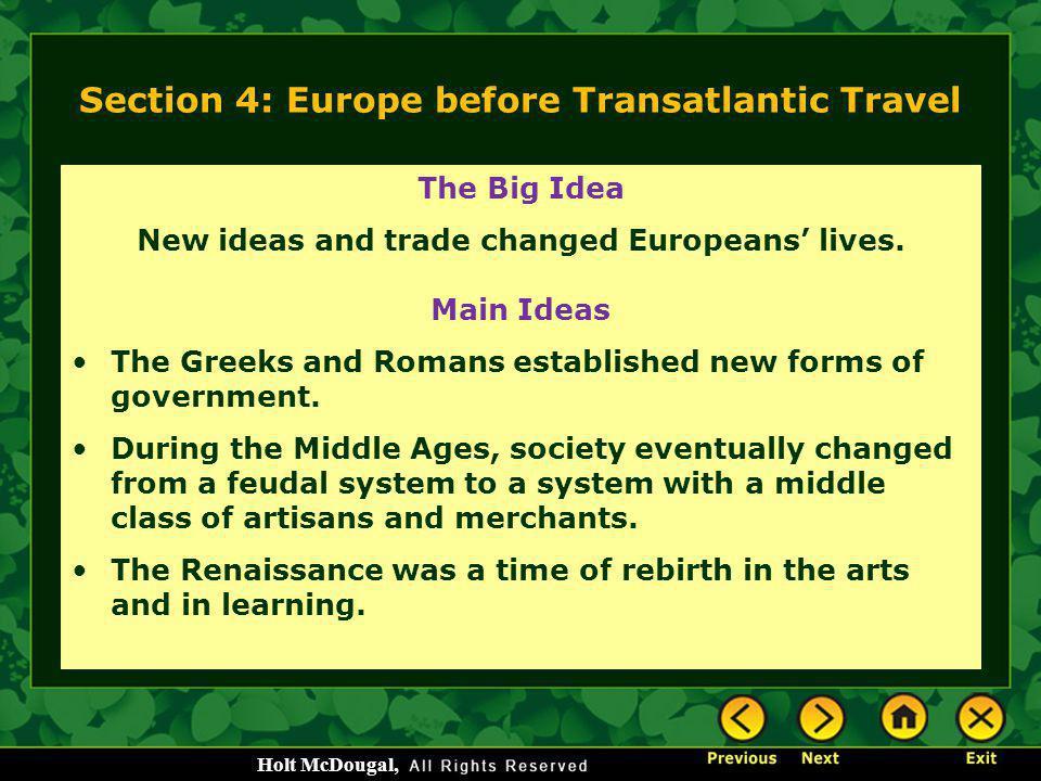 Section 4: Europe before Transatlantic Travel