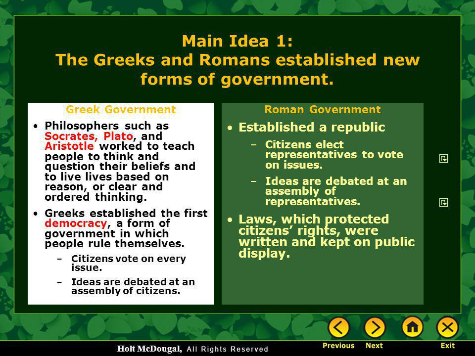 Main Idea 1: The Greeks and Romans established new forms of government.