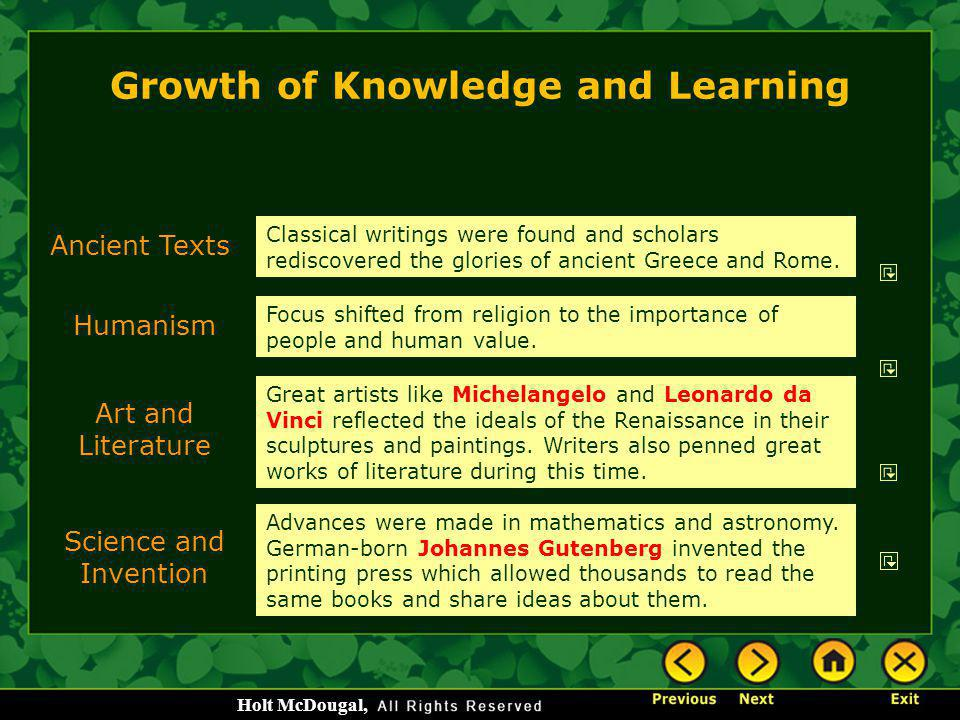 Growth of Knowledge and Learning