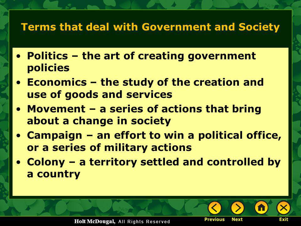 Terms that deal with Government and Society