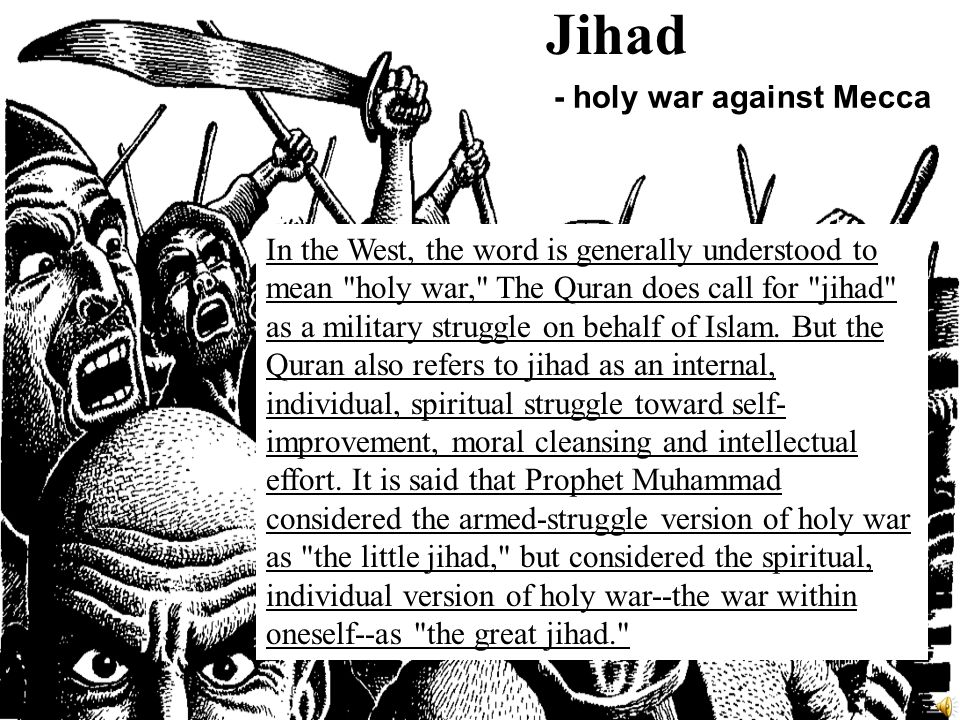 a study on jihad the holy war What is this thing called jihad or islamic holy war the arabic word jihad is often translated as holy war, but in a purely linguistic sense.