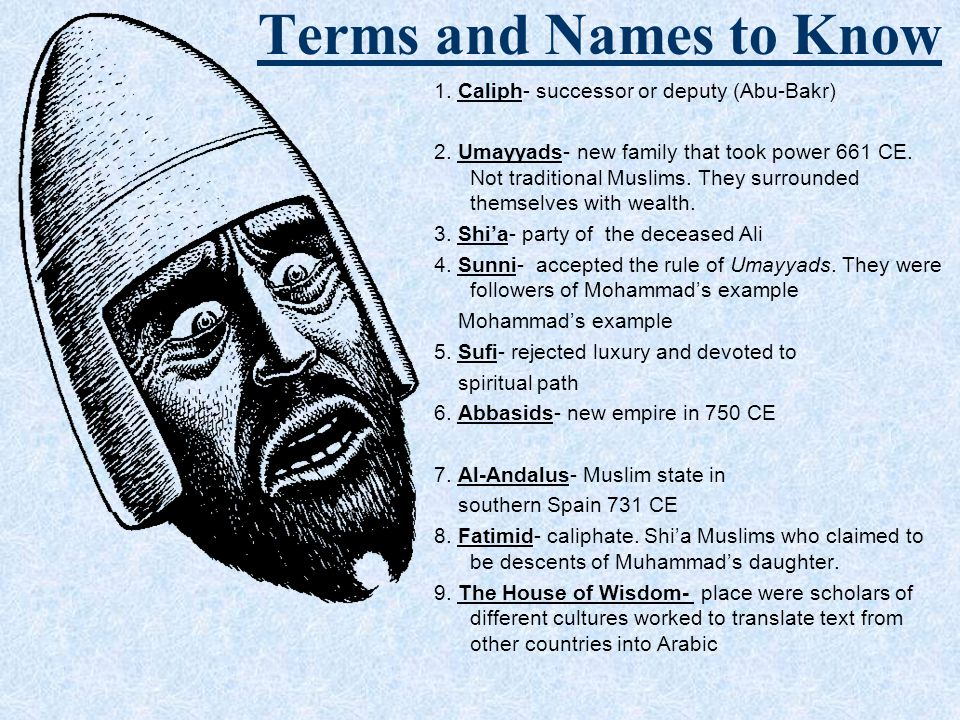 Terms and Names to Know 1. Caliph- successor or deputy (Abu-Bakr)