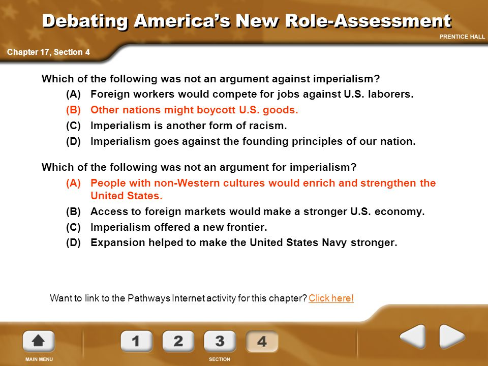 Debating America's New Role-Assessment
