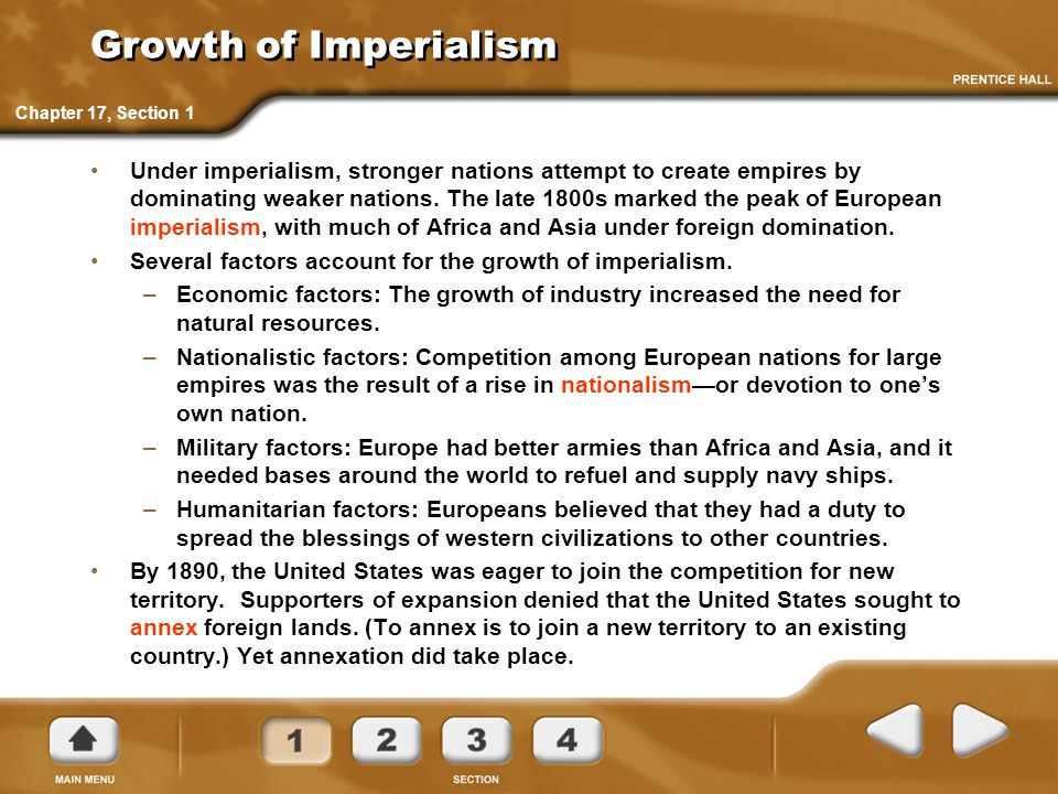 Growth of Imperialism Chapter 17, Section 1.