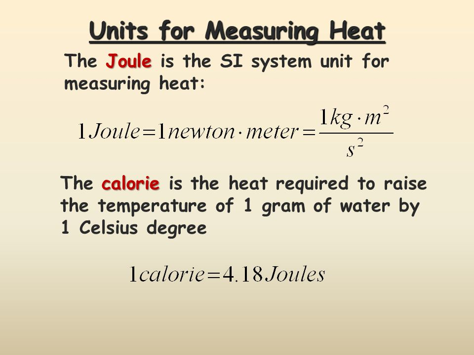 Units for Measuring Heat